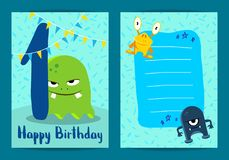 Vector happy birthday card with cute cartoon monsters, garland and age one Royalty Free Stock Images