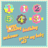 Vector happy birthday card design template. Set Royalty Free Stock Photo