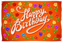 Vector Happy Birthday Card flower tulip vintage orange background Royalty Free Stock Images