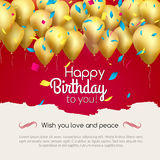 Vector happy birthday card with golden balloons and confetti, party invitation. Stock Photography