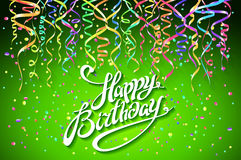 Vector happy birthday card with green background with colorful confetti - modern flat style. Art Stock Photos