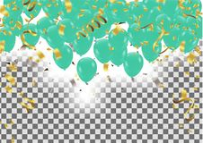 Vector happy birthday card with green balloons, party invitation. Eps.10 Royalty Free Stock Photos