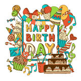 Vector Happy Birthday card. Royalty Free Stock Photo