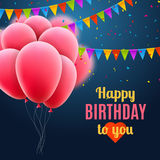 Vector happy birthday card with pink balloons and confetti, celebrate party invitation Stock Photo