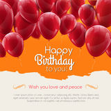 Vector happy birthday card with red balloons, party invitation. Royalty Free Stock Photo