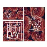 Vector happy birthday card with red  flowers. Stock Images