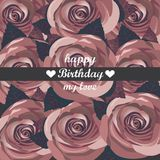 Vector happy birthday card with red  flowers. Stock Photo
