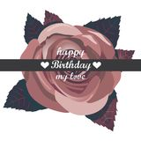 Vector happy birthday card with red  flowers. Stock Photography