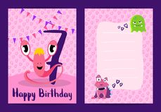 Vector happy birthday cards with cute monsters, garlands and age number stock illustration
