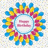 Vector happy birthday frame with colorful balloons. Background for holiday cards.  Stock Images