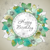 Vector Happy Birthday greeting card with beautiful clematis flow Royalty Free Stock Photo