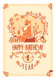 Vector Happy Birthday greeting card with cute rabbit, bird, hedgehog, mouse, fox and bear. Invitation design. Stock Photos