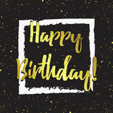 Vector happy birthday greeting card. Stylish gold design for banner, poster, card, background. Golden splashes, sparkles and text on black royalty free illustration