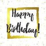 Vector happy birthday greeting card. Stylish gold design for banner, poster, card, background. Golden splashes, sparkles and text on white Stock Photography