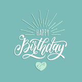 Vector Happy Birthday hand lettering for greeting or invitation card. Natal day background. Festive typographic poster Stock Photo