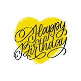 Vector Happy Birthday hand lettering for greeting or invitation card. Holiday typographic poster with heart illustration. Vector Happy Birthday hand lettering Stock Photo