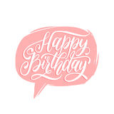 Vector Happy Birthday hand lettering in speech bubble. Holiday greeting, invitation card,poster. Calligraphy background. Stock Photography
