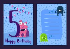 Vector happy birthday card with cute cartoon monsters and age five number with little stars and confetti. Vector happy birthday kids card with cute cartoon Stock Photo
