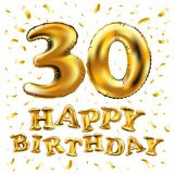 30th Birthday celebration with gold balloons and colorful confetti glitters. 3d Illustration design for your greeting card, birthd. Vector happy birthday 30rd Royalty Free Stock Photography