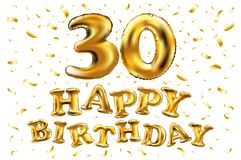 30th Birthday celebration with gold balloons and colorful confetti glitters. 3d Illustration design for your greeting card, birthd. Vector happy birthday 30rd Stock Photography
