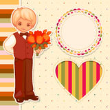 Vector happy birthday set. Vector cartoon boy with flowers and frames Stock Photos