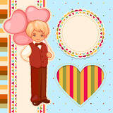 Vector happy birthday set. Vector image of the boy with balloons and frames Stock Image