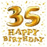35th Birthday celebration with gold balloons and colorful confetti glitters. 3d Illustration design for your greeting card, birthd. Vector happy birthday 35th Stock Photo