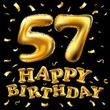 Vector happy birthday 57th celebration gold balloons and golden confetti glitters. 3d Illustration design for your greeting card,. Invitation and Celebration Stock Photo