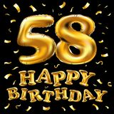 Vector happy birthday 58th celebration gold balloons and golden confetti glitters. 3d Illustration design for your greeting card,. Invitation and Celebration Royalty Free Stock Image