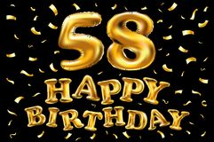 Vector happy birthday 58th celebration gold balloons and golden confetti glitters. 3d Illustration design for your greeting card,. Invitation and Celebration Royalty Free Stock Photo