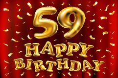 Vector happy birthday 59th celebration gold balloons and golden confetti glitters. 3d Illustration design for your greeting card,. Invitation and Celebration royalty free illustration