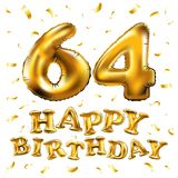 Vector happy birthday 64th celebration gold balloons and golden confetti glitters. 3d Illustration design for your greeting card,. Invitation and Celebration stock illustration