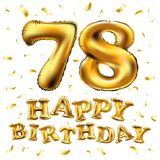 Vector happy birthday 78th celebration gold balloons and golden confetti glitters. 3d Illustration design for your greeting card, Stock Image
