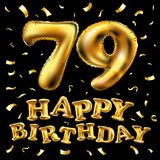 Vector happy birthday 79th celebration gold balloons and golden confetti glitters. 3d Illustration design for your greeting card,. Invitation and Celebration Stock Photos
