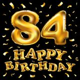 Vector happy birthday 84th celebration gold balloons and golden confetti glitters. 3d Illustration design for your greeting card,. Invitation and Celebration Stock Photo