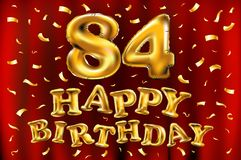 Vector happy birthday 84th celebration gold balloons and golden confetti glitters. 3d Illustration design for your greeting card,. Invitation and Celebration Royalty Free Stock Photography