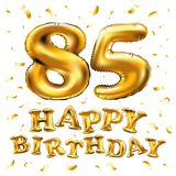 Vector happy birthday 85th celebration gold balloons and golden confetti glitters. 3d Illustration design for your greeting card,. Invitation and Celebration Royalty Free Stock Photo