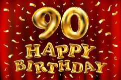 Vector happy birthday 90th celebration gold balloons and golden confetti glitters. 3d Illustration design for your greeting card,. Invitation and Celebration Royalty Free Stock Photography