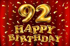 Vector happy birthday 92th celebration gold balloons and golden confetti glitters. 3d Illustration design for your greeting card,. Invitation and Celebration royalty free illustration