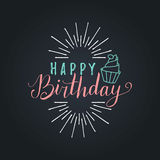 Vector Happy Birthday to You lettering design.Festive illustration with cake on black background for greeting cards etc. Vector Happy Birthday to You lettering Royalty Free Stock Photography