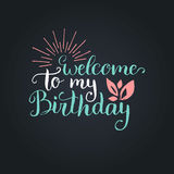 Vector Happy Birthday to You lettering design.Festive illustration with cake on black background for greeting cards etc. Vector Happy Birthday to You lettering Stock Photography