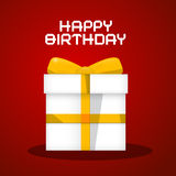 Vector Happy Birthday White Paper Gift Box Stock Photography