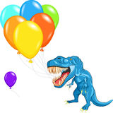 Vector Happy blue tyrannosaurs with balloons Royalty Free Stock Images