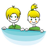 Vector. Happy boy and girl with bright yellow hair Royalty Free Stock Photography