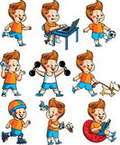 Vector happy boy hobbies Royalty Free Stock Image