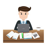 Vector of happy businessman working with the computer on a table. On white background eps 10 Stock Images