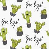 Vector happy cactus print. Cool kids design with succulents. Free hugs cacti decoration. Kawaii doodle cartoon. Illustration. Funny hugs texture Royalty Free Illustration