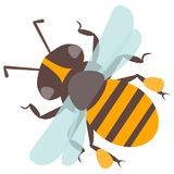 Vector happy cartoon bee flying delicious honey insect isolated animal. Yellow bug honeybee antenna detail pollen small worker buzz wings natural pollination Stock Images