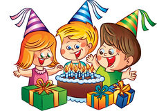 Vector happy children party birthday Royalty Free Stock Photography