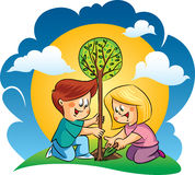 Vector happy children planting a tree Royalty Free Stock Photos